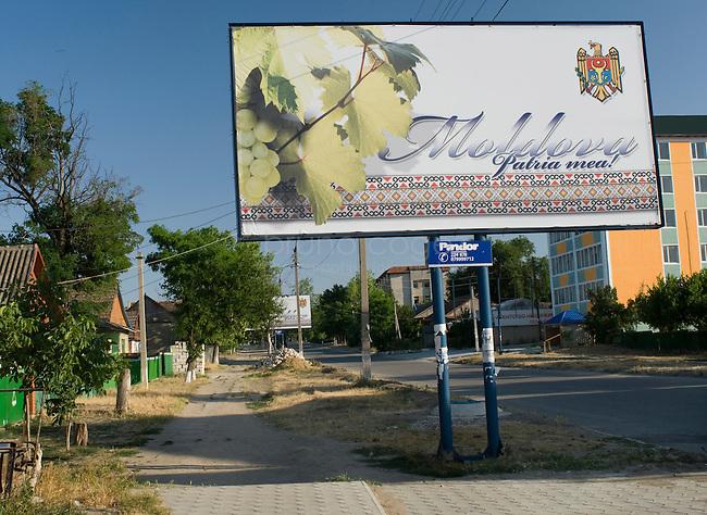 "REPUBLIC OF MOLDOVA, Gagauzia, Comrat, 2009/06/24..Lenin Street, the main thoroughfare of the capital of Gagauzia, Comrat. Every 50 meters, posters proclaim: ""Moldova, my homeland"" ....© Bruno Cogez..REPUBLIQUE MOLDAVE, Gagaouzie, Comrat, 24/06/2009..Rue Lenine, a Comrat, l'artere principale de la capitale gagaouze. Tous les 50 metres, des affiches proclament: ""la Moldavie, ma patrie""....© Bruno Cogez"