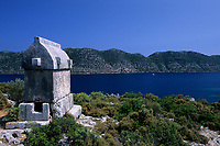 Lycian Style Sarcophagus, Simena, Kekova, Anatolia, ancient Lycia Region, Turkey, Mediterranean Sea