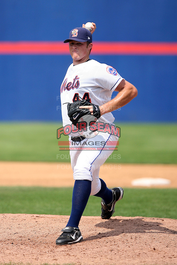 July 7th 2008:  Pitcher Eddie Kunz of the Binghamton Mets, Class-AA affiliate of the New York Mets, during a game at NYSEG Stadium in Binghamton, NY.  Photo by:  Mike Janes/Four Seam Images