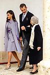 King Felipe VI of Spain, Queen Letizia and Uruguayan poet Ida Vitale (R) during the Cervantes Literature Prize ceremony at the University of Alcala in Madrid on April 23, 2019. (ALTERPHOTOS/Alconada).