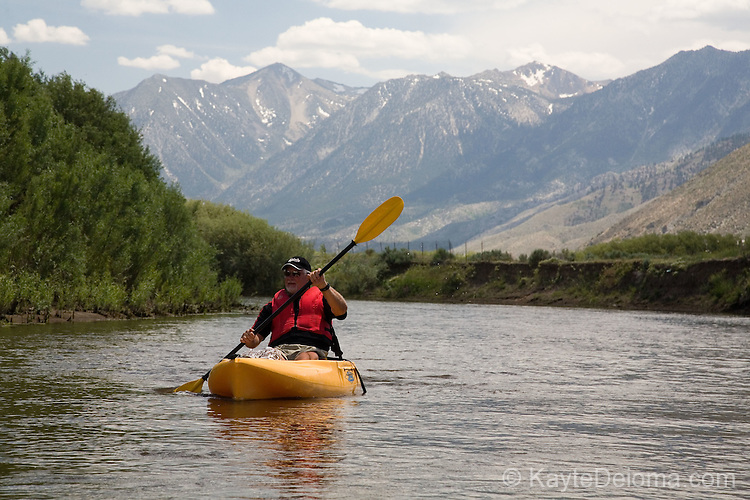 Kayaking on the Carson River near Carson City, Nevada