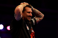 9th October 2021; Morningside Arena, Leicester, England; PDC BoyleSports Darts World Grand Prix finals ; Jonny Clayton reacts as he wins the Boylesports World Grand Prix final