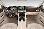 Stock photo of straight dashboard view of a 2015 Mercedes Benz CLS-Class CLS400 2 Door Coupe Dashboard