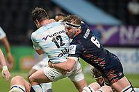 4th April 2021; Paris La Défense Arena, Nanterre, Paris, France; European Champions Cup Rugby, Racing 92 versus Edinburgh;  J Ritchie ( 6 - Edinburgh ) tackles HENRY CHAVANCY ( 12 - Racing )