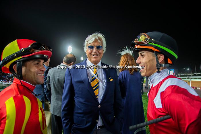 RIYADH,SAUDI ARABIA-FEB 29: From left Joel Rosario (Mckinzie),Bob Baffert and Irad Ortiz Jr, (Mucho Gusto),before the Saudi Cup at King Abdulaziz Racetrack on February 29,2020 in Riyadh,Saudi Arabia. Kaz Ishida/Eclipse Sportswire/CSM