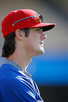 Cole Hamels of the Philadelphia Phillies during batting practice before a game against the Los Angeles Dodgers in a 2007 MLB season game at Dodger Stadium in Los Angeles, California. (Larry Goren/Four Seam Images)