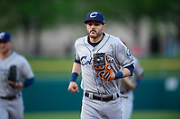 Columbus Clippers shortstop Eric Stamets (7) jogs off the field between innings of an International League game against the Indianapolis Indians on April 29, 2019 at Victory Field in Indianapolis, Indiana. Indianapolis defeated Columbus 5-3. (Zachary Lucy/Four Seam Images)