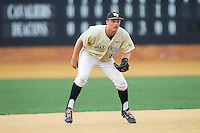 Wake Forest Demon Deacons third baseman Joe Napolitano (12) on defense against the Virginia Cavaliers at Wake Forest Baseball Park on May 17, 2014 in Winston-Salem, North Carolina.  The Demon Deacons defeated the Cavaliers 4-3.  (Brian Westerholt/Four Seam Images)