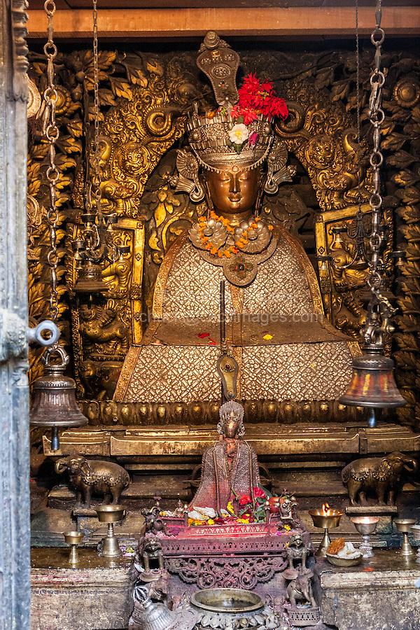 Nepal, Patan.  Buddha Shrine inside the Golden Temple (Kwa Baha).