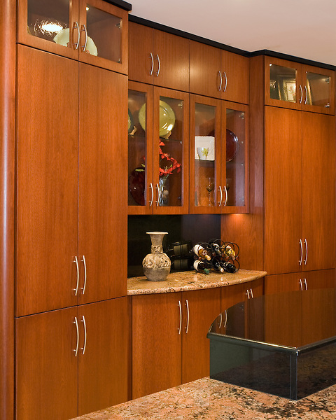 Custom designed cabinet wall featuring glass front doors.