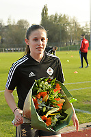 Marie Detruyer , winner of the Eleven Sports trophee player of the month pictured during a female soccer game between SV Zulte - Waregem and Oud Heverlee Leuven on the sixth matchday of the 2020 - 2021 season of Belgian Scooore Women s SuperLeague , saturday 7 th of November 2020  in Zulte , Belgium . PHOTO SPORTPIX.BE   SPP   DIRK VUYLSTEKE