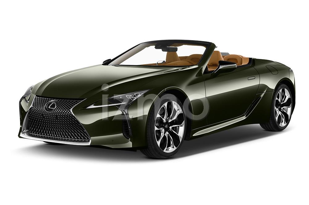 2021 Lexus LC 500-Base 2 Door Convertible Angular Front automotive stock photos of front three quarter view
