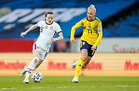 SOLNA, SWEDEN - APRIL 10: Rose Lavelle #16 of the United States moves towards the box during a game between Sweden and USWNT at Friends Arena on April 10, 2021 in Solna, Sweden.