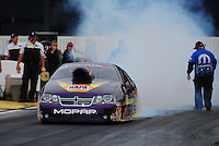 Nov. 10, 2011; Pomona, CA, USA; NHRA pro stock driver Vincent Nobile during qualifying at the Auto Club Finals at Auto Club Raceway at Pomona. Mandatory Credit: Mark J. Rebilas-.