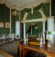 Carl XIV Johan's bedroom, decorated in 1823 by Blom, is draped in green taffeta and is one of the first Empire interiors in Sweden