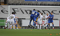 ATTENTION SPORTS PICTURE DESK<br /> Pictured: Seyi Olofinjana of Cardiff (20) heads the ball off target from a team mate's corner kick<br /> Re: npower Championship Swansea City FC v Cardiff City FC at the Liberty Stadium, south Wales. Sunday 06 February 2011
