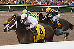 March 29, 2014: Jockey Javier Castellano and Constitution get by on the rail on the way to winning the Florida Derby(G1). Wildcat Red and John Velazquez fights gamely getting beat a neck. General a Rod with Juan Leyva were third at Gulfstream Park in Hallandale Beach (FL). Arron Haggart/ESW/CSM