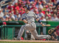 26 April 2014: San Diego Padres outfielder Chris Denorfia in action against the Washington Nationals at Nationals Park in Washington, DC. The Nationals defeated the Padres 4-0 to take the third game of their 4-game series. Mandatory Credit: Ed Wolfstein Photo *** RAW (NEF) Image File Available ***