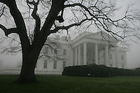 White House South and North Lawn in fog.