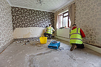 Pictured: Builders work in the house of Russell Cameron in Porth. Wednesday 04 March 2020<br /> Re: Revisiting the flood affected areas in Pontypridd, Wales, UK.