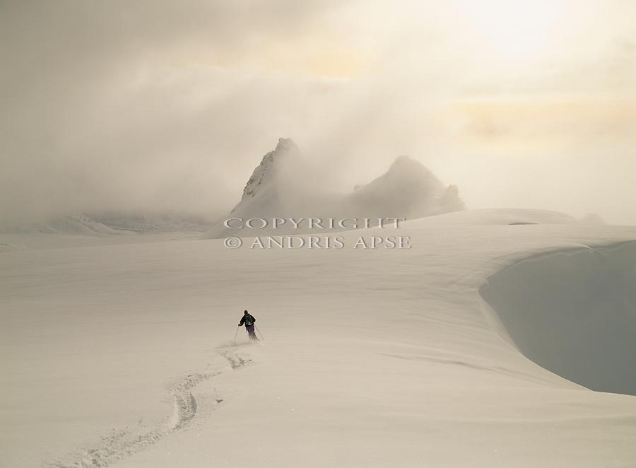 Skier on the Fox Glacier. Westland National  Park. New Zealand.