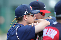 Atlanta Braves executive Jonathan Schuerholz at a Minor League Spring Training workout on Monday, March 16, 2015, at the ESPN Wide World of Sports Complex in Lake Buena Vista, Florida. (Tom Priddy/Four Seam Images)
