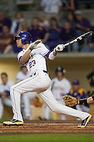 LSU Tigers second baseman JaCoby Jones #23 swings against the Mississippi State Bulldogs during the NCAA baseball game on March 16, 2012 at Alex Box Stadium in Baton Rouge, Louisiana. LSU defeated Mississippi State 3-2 in 10 innings. (Andrew Woolley / Four Seam Images)
