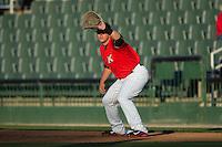 Kannapolis Intimidators first baseman Corey Zangari (14) on defense against the Hickory Crawdads at Kannapolis Intimidators Stadium on April 7, 2016 in Kannapolis, North Carolina.  The Crawdads defeated the Intimidators 5-1.  (Brian Westerholt/Four Seam Images)