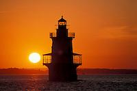 Hog Island Lighthouse at sunset, Bristol, Rhode Island.