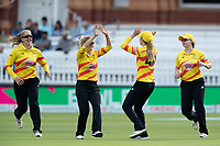 Emily Windsor of Trent Rockets celebrates her catch with team mates during London Spirit Women vs Trent Rockets Women, The Hundred Cricket at Lord's Cricket Ground on 29th July 2021