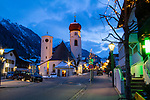 Church, St Anton, Austria, night, Europe, 2017,