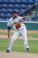 Jose Cisnero #18 of the Lancaster JetHawks pitches against the Rancho Cucamonga Quakes at The Epicenter in Rancho Cucamonga,California on April 28, 2011. Photo by Larry Goren/Four Seam Images