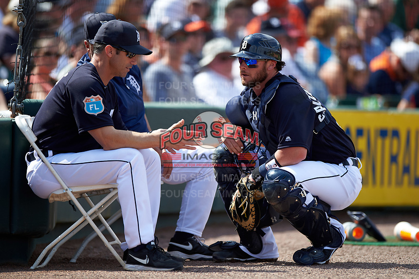 Detroit Tigers catcher Jarrod Saltalamacchia (39) talks with manager Brad Ausmus during an exhibition game against the Florida Southern Moccasins on February 29, 2016 at Joker Marchant Stadium in Lakeland, Florida.  Detroit defeated Florida Southern 7-2.  (Mike Janes/Four Seam Images)