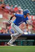 Hartford Yard Goats center fielder Omar Carrizales (19) runs to first base during a game against the Erie SeaWolves on August 6, 2017 at UPMC Park in Erie, Pennsylvania.  Erie defeated Hartford 9-5.  (Mike Janes/Four Seam Images)