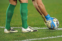 Glen Moss of New Zealand places the ball down for a goal kick. Iraq and New Zealand tied 0-0 during the FIFA Confederations Cup at Ellis Park Stadium in Johannesburg, South Africa on June 20, 2009..