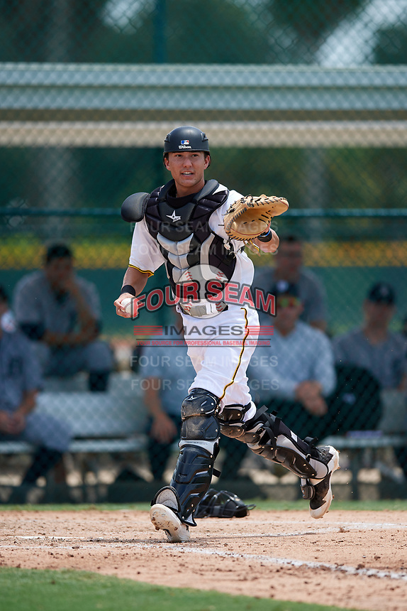 GCL Pirates catcher Ryan Haug (43) during a game against the GCL Tigers West on August 13, 2018 at Pirate City Complex in Bradenton, Florida.  GCL Tigers West defeated GCL Pirates 5-1.  (Mike Janes/Four Seam Images)