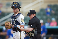 Home plate umpire Grant Akins makes notes during the NCAA baseball game between the Mars Hill Lions and the Queens Royals at Intimidators Stadium on March 30, 2019 in Kannapolis, North Carolina. The Royals defeated the Bulldogs 11-6 in game one of a double-header. (Brian Westerholt/Four Seam Images)