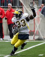 November 22, 2008. Michigan kick returner Boubacar Cissoko. The Ohio State Buckeyes defeated the Michigan Wolverines 42-7 on November 22, 2008 at Ohio Stadium, Columbus, Ohio.
