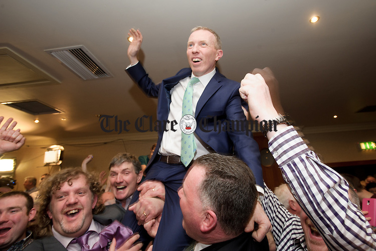 Timmy Dooley celebrates his election at the count in Ennistymon. Photograph by John Kelly.