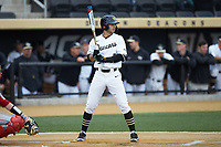 Patrick Frick (5) of the Wake Forest Demon Deacons at bat against the Sacred Heart Pioneers at David F. Couch Ballpark on February 15, 2019 in  Winston-Salem, North Carolina.  The Demon Deacons defeated the Pioneers 14-1. (Brian Westerholt/Four Seam Images)