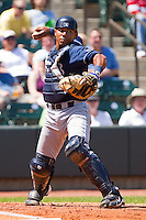 Jose Bonilla #9 of the Wilmington Blue Rocks makes a throw to first base against the Winston-Salem Dash at BB&T Ballpark on April 24, 2011 in Winston-Salem, North Carolina.   Photo by Brian Westerholt / Four Seam Images