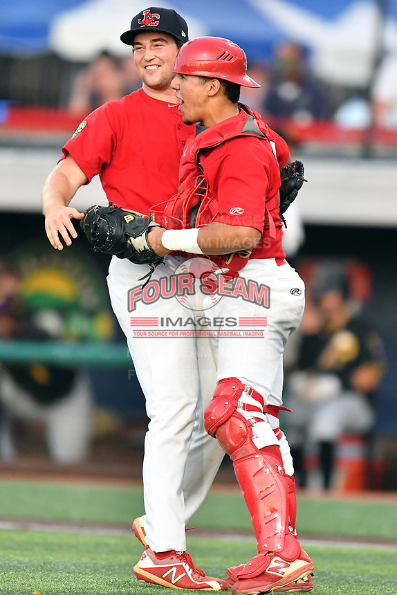 Johnson City Cardinals pitcher Tyler Peck (16) and catcher Aaron Antonini (53) celebrate  after game three of the Appalachian League, West Division Playoffs against the Bristol Pirates at TVA Credit Union Ballpark on September 1, 2019 in Johnson City, Tennessee. The Cardinals defeated the Pirates 7-5 to win the series 2-1. (Tony Farlow/Four Seam Images)