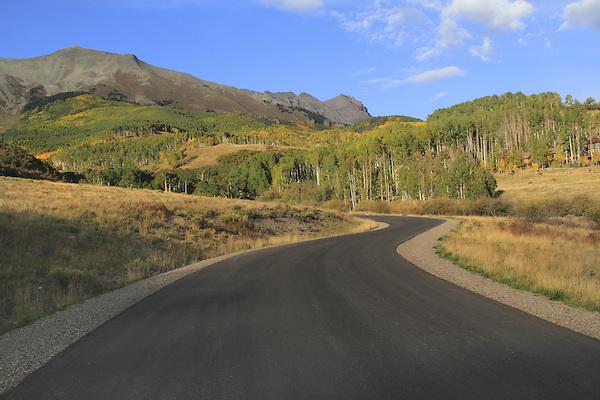 Highway in the San Juan Mountains, autumn, Colorado.