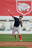 Lowell Spinners shortstop Korby Batesole (12) throws to first base during a game against the Connecticut Tigers on August 26, 2018 at Dodd Stadium in Norwich, Connecticut.  Connecticut defeated Lowell 11-3.  (Mike Janes/Four Seam Images)