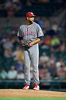 Lehigh Valley IronPigs relief pitcher Pedro Beato (44) gets ready to deliver a pitch during a game against the Rochester Red Wings on June 29, 2018 at Frontier Field in Rochester, New York.  Lehigh Valley defeated Rochester 2-1.  (Mike Janes/Four Seam Images)
