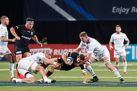 26th September 2020, Paris La Défense Arena, Paris, France; Champions Cup rugby semi-final, Racing 92 versus Saracens; Goode (Saracens) brought down by Ryan (Racing 92)