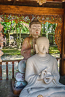 Borobudur, Java, Indonesia.  Mendut Buddhist Monastery.  Two Buddhas: Chinese Style in Back, Javanese Style in Front, in the Gesture (Mudra) of Dharmachakra.