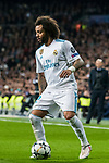 Marcelo Vieira Da Silva (R) of Real Madrid fights for the ball with Dani Alves of Paris Saint Germain during the UEFA Champions League 2017-18 Round of 16 (1st leg) match between Real Madrid vs Paris Saint Germain at Estadio Santiago Bernabeu on February 14 2018 in Madrid, Spain. Photo by Diego Souto / Power Sport Images