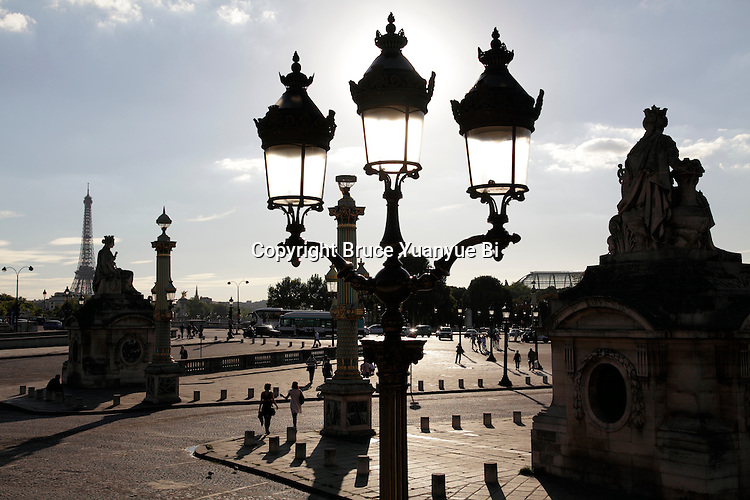 Concorde Square Place de la Concorde with a street lamp in the foreground. Paris. France