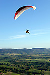 Great Britain, England, North Yorkshire, near Great Ayton: Parasailing over the North York Moors National Park